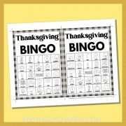 free fall thanksgiving bingo card 5x5 5x7 black white coloring game boards with images and text words.
