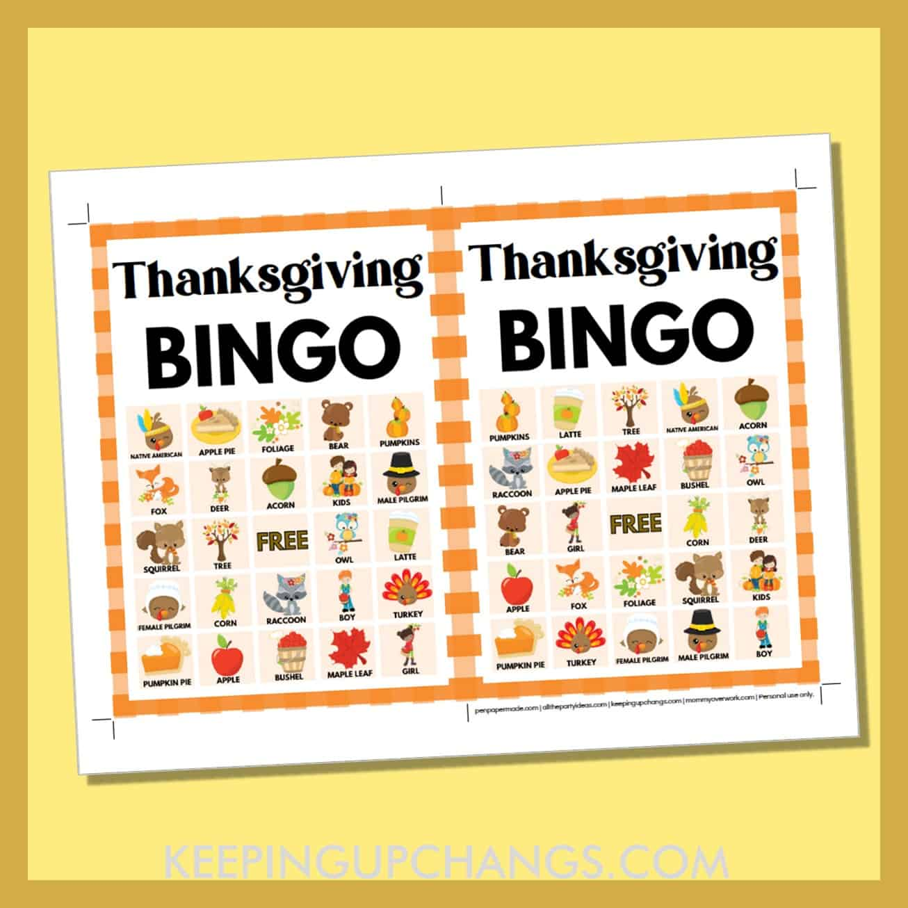 free fall thanksgiving bingo card 5x5 5x7 game boards with images and text words.