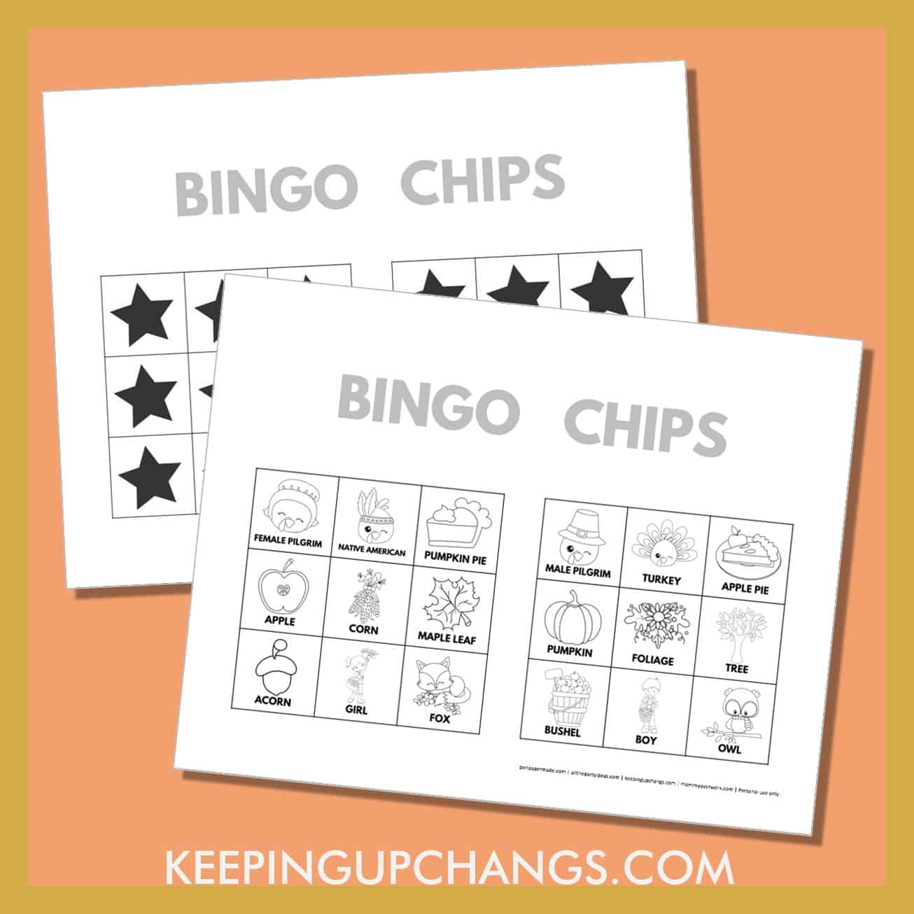 free fall thanksgiving bingo card 3x3 black white coloring game chips, tokens, markers.