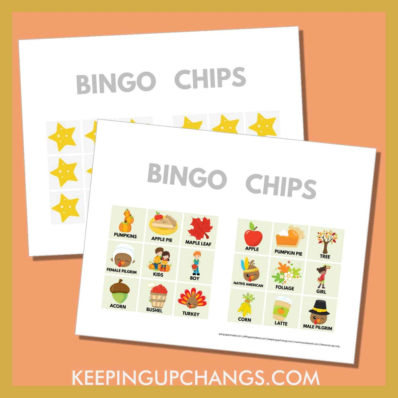 free fall thanksgiving bingo card 3x3 game chips, tokens, markers.