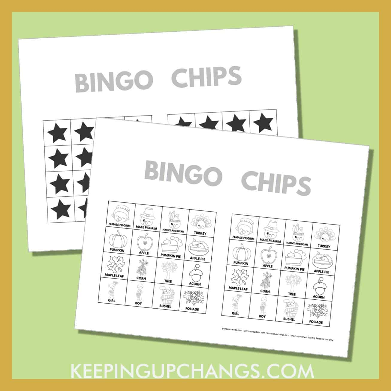 free fall thanksgiving bingo card 4x4 black white coloring game chips, tokens, markers.