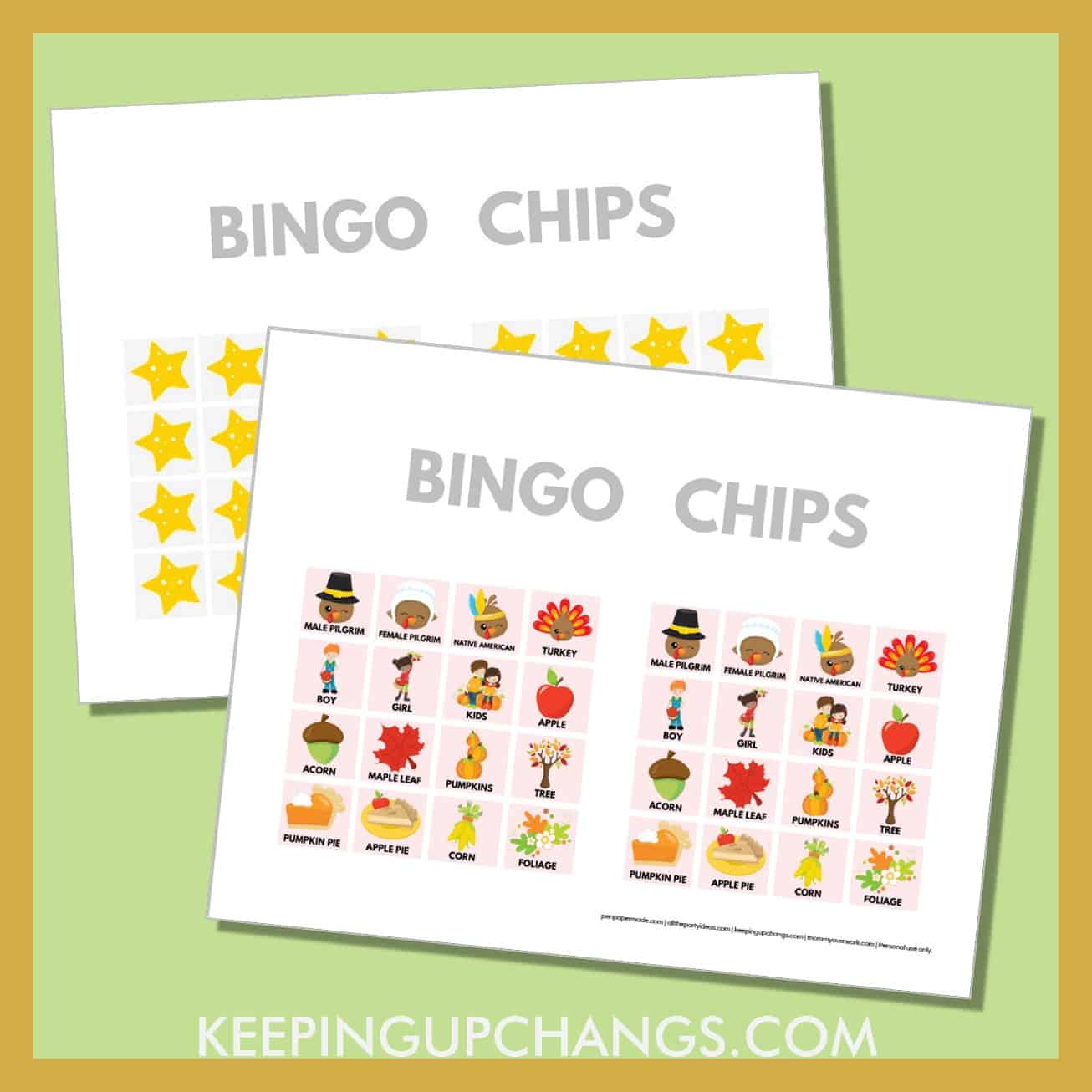 free fall thanksgiving bingo card 4x4 game chips, tokens, markers.