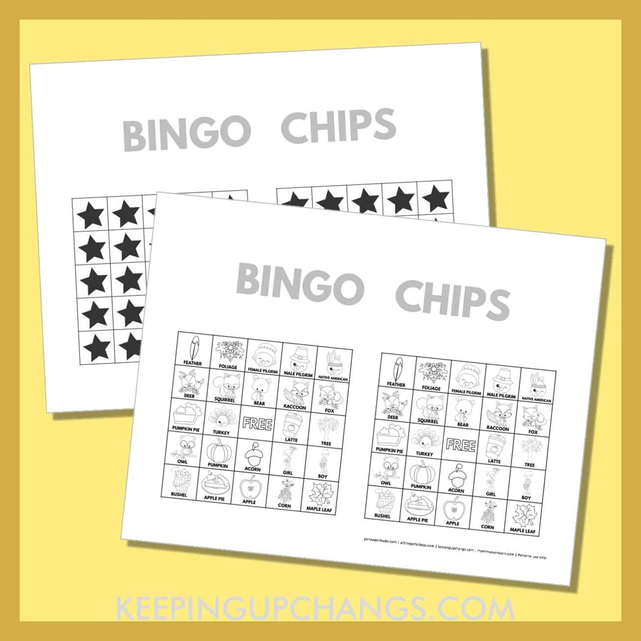 free fall thanksgiving bingo card 5x5 black white coloring game chips, tokens, markers.