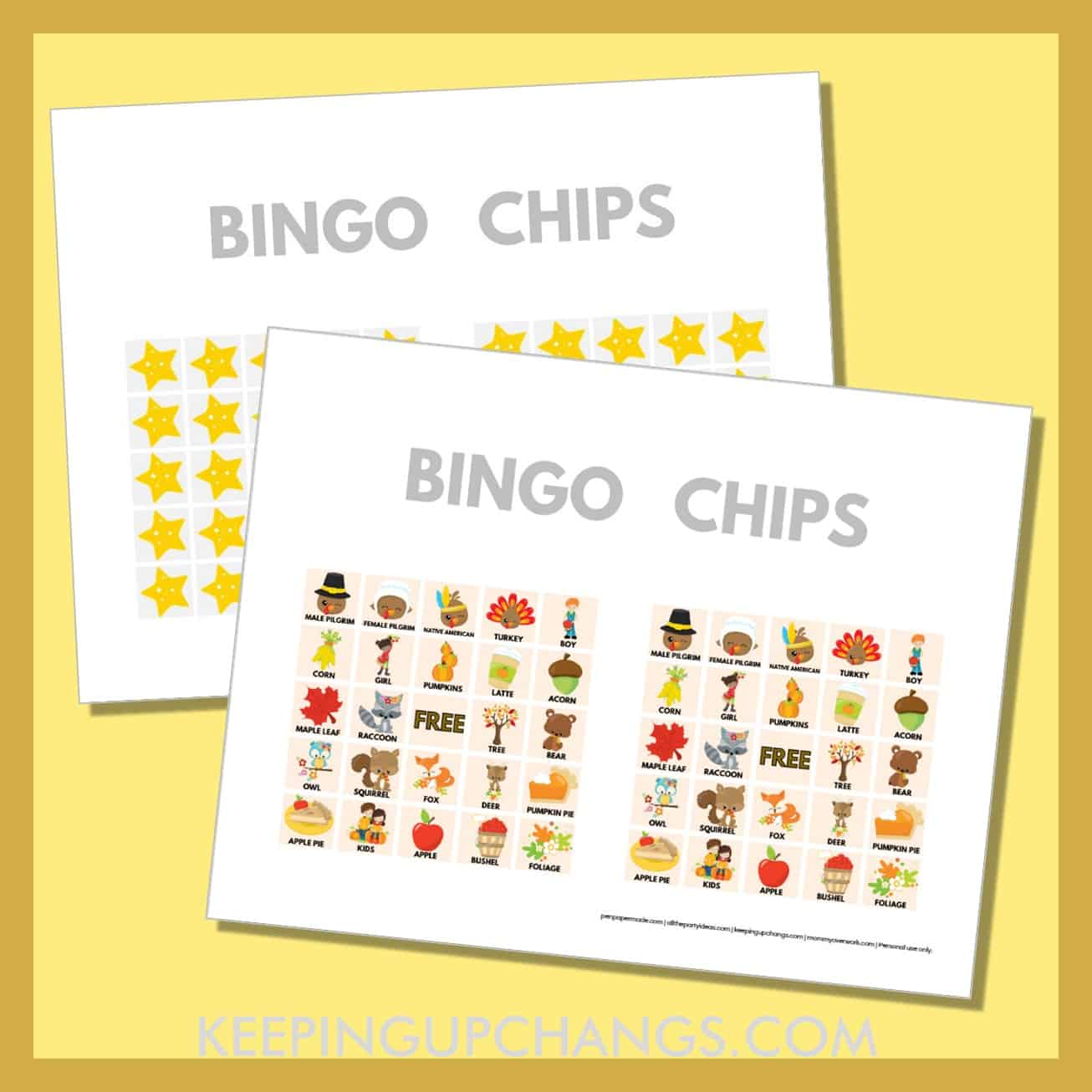 free fall thanksgiving bingo card 5x5 game chips, tokens, markers.