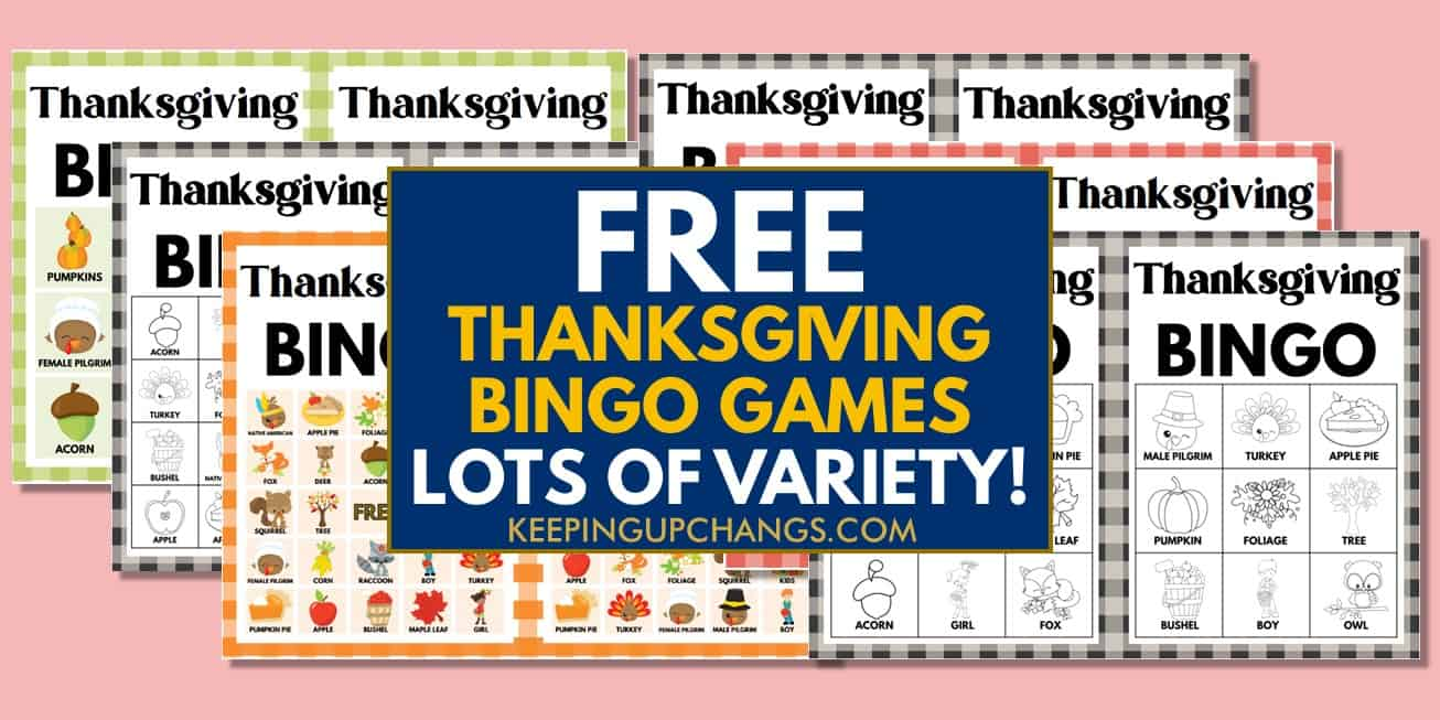 best free thanksgiving bingo games with images and text, for coloring, icebreaker, and more.