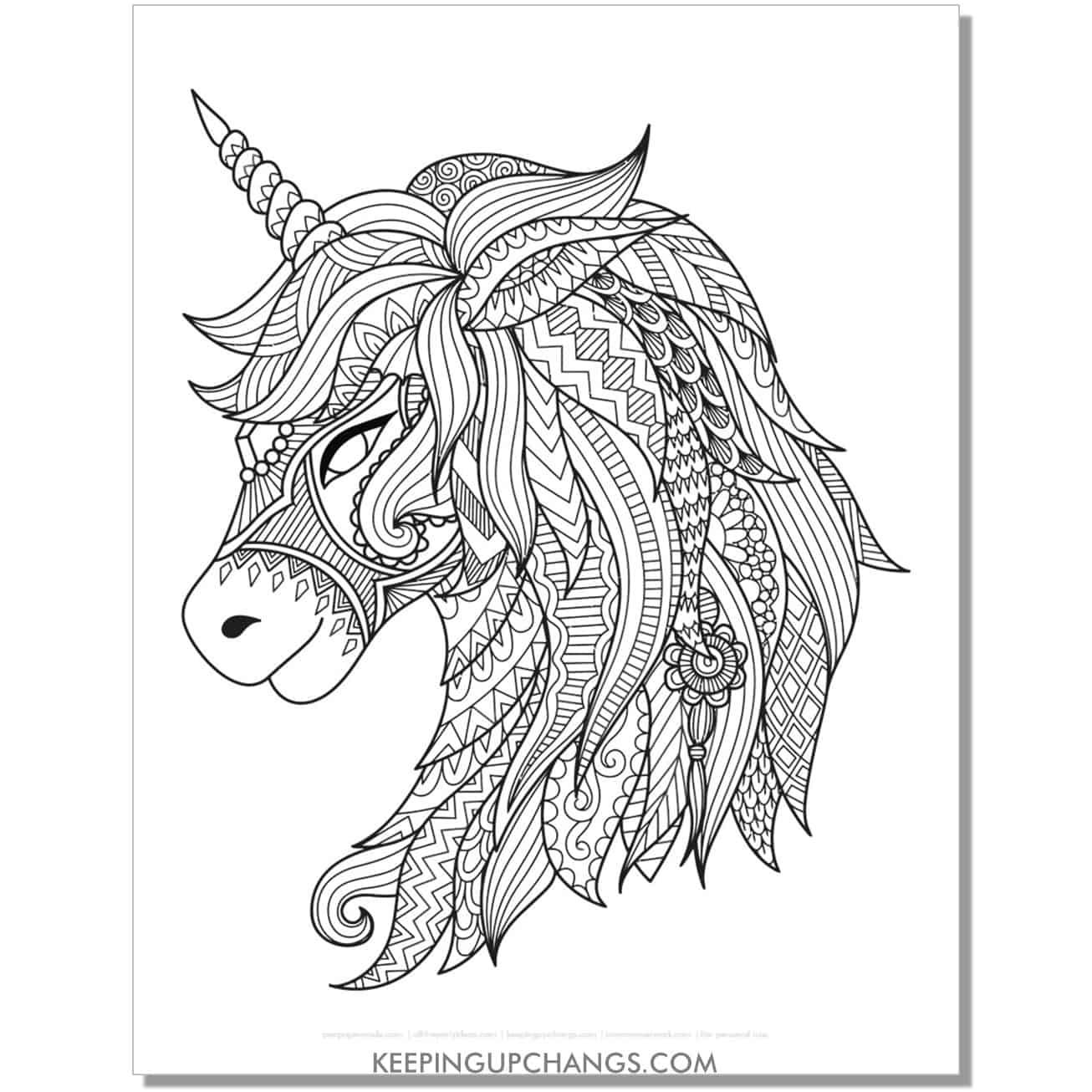tribal fairy unicorn head zentangle coloring page.