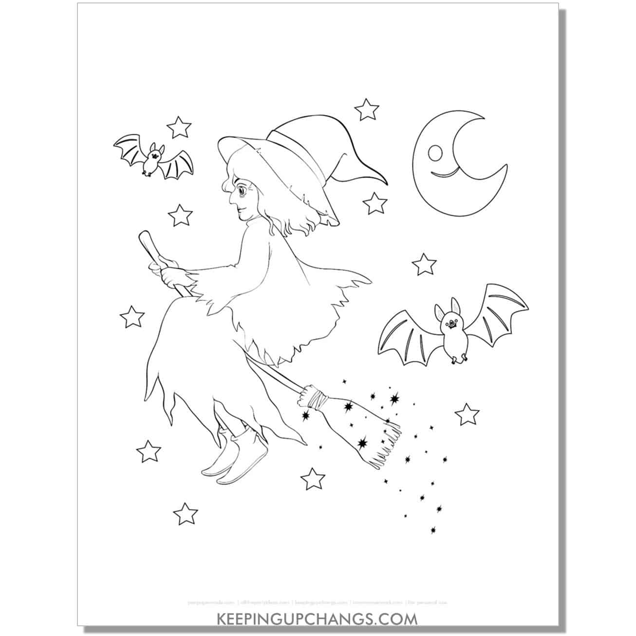 free anime witch flying on broomstick doodle coloring page.