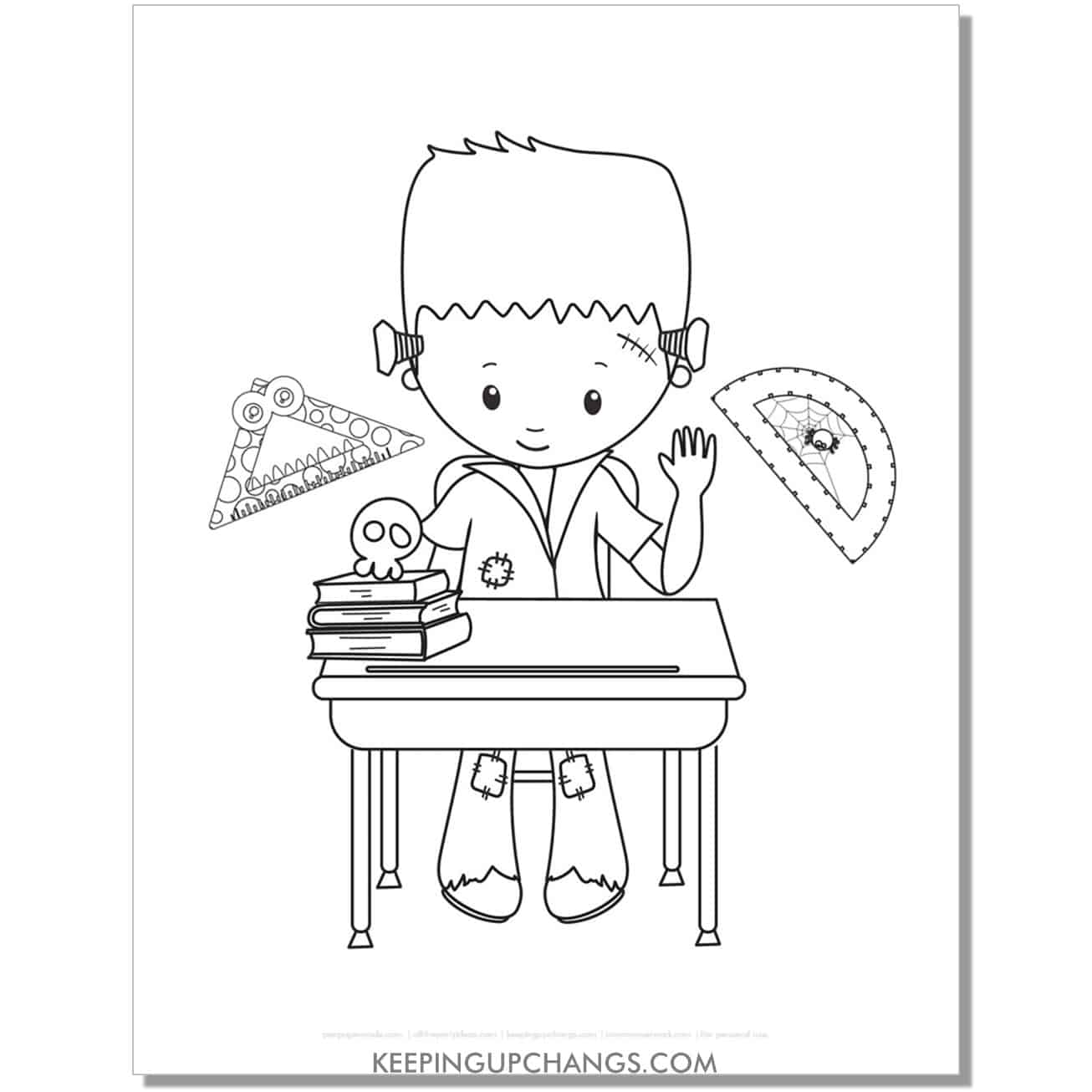 free frankenstein boy school coloring page with protractor and ruler.