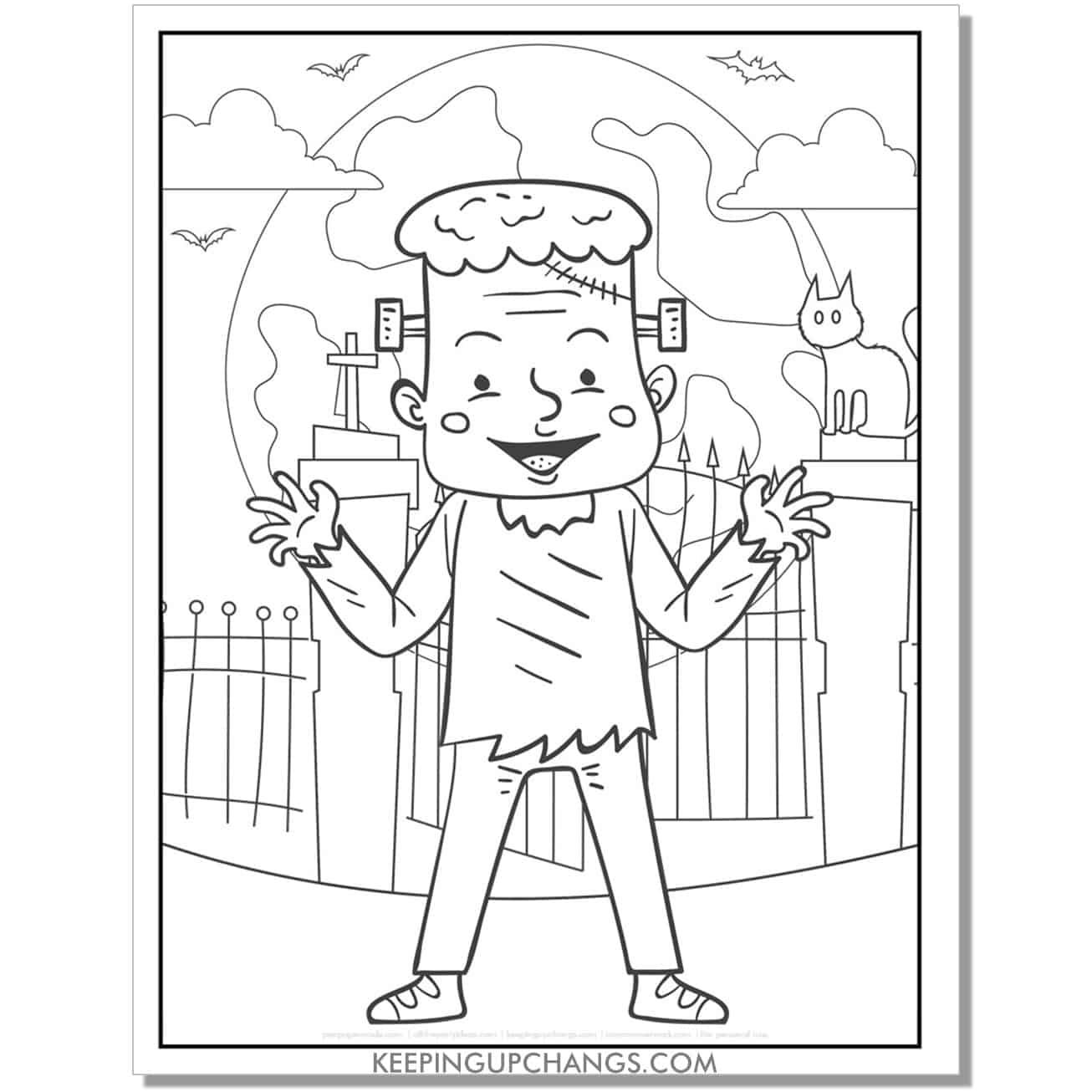 free friendly frankenstein full size coloring page.