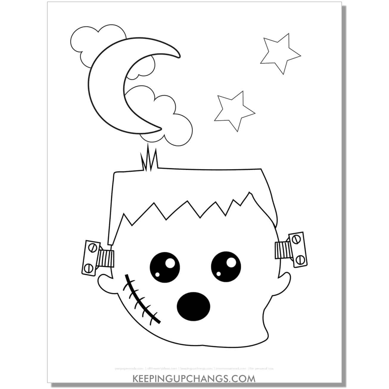 free frankenstein ghost halloween coloring page for toddlers.