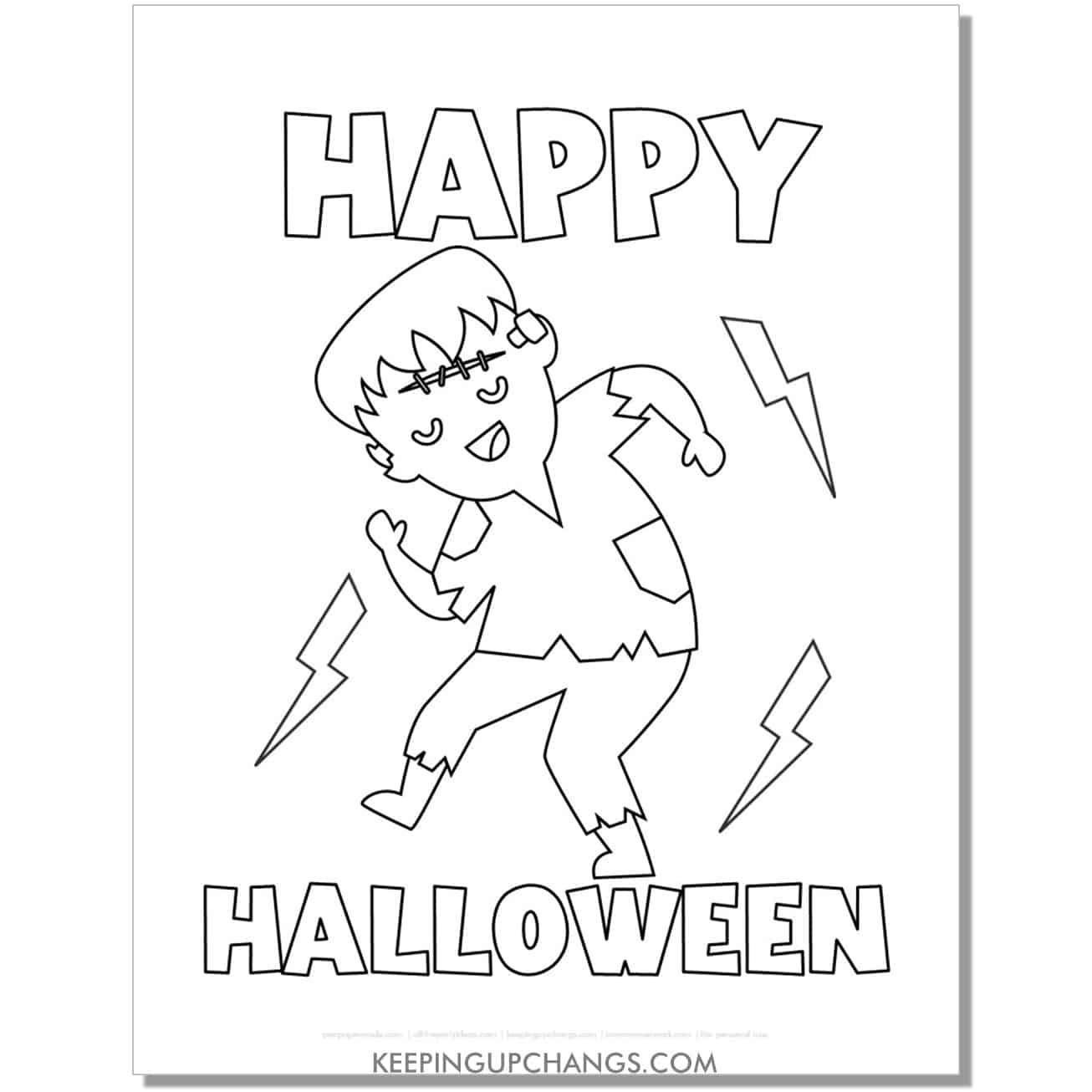 free happy halloween dancing frankenstein coloring page.