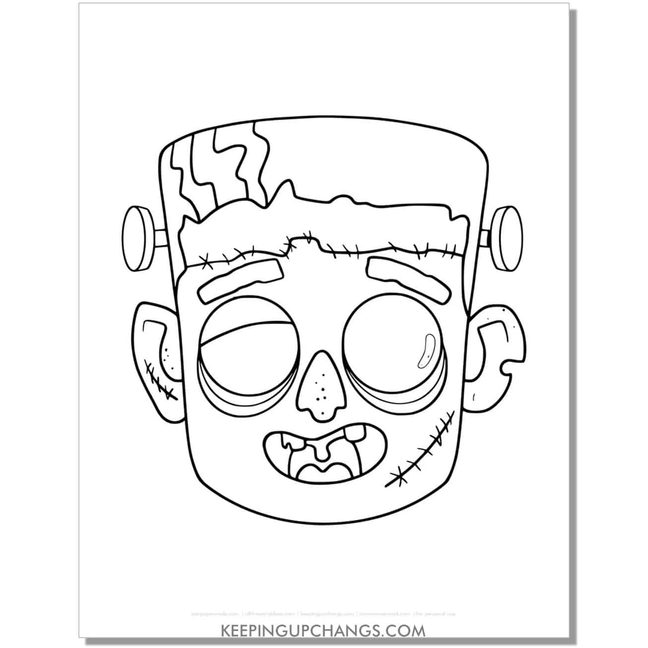 free zombie frankenstein monster mask coloring page.