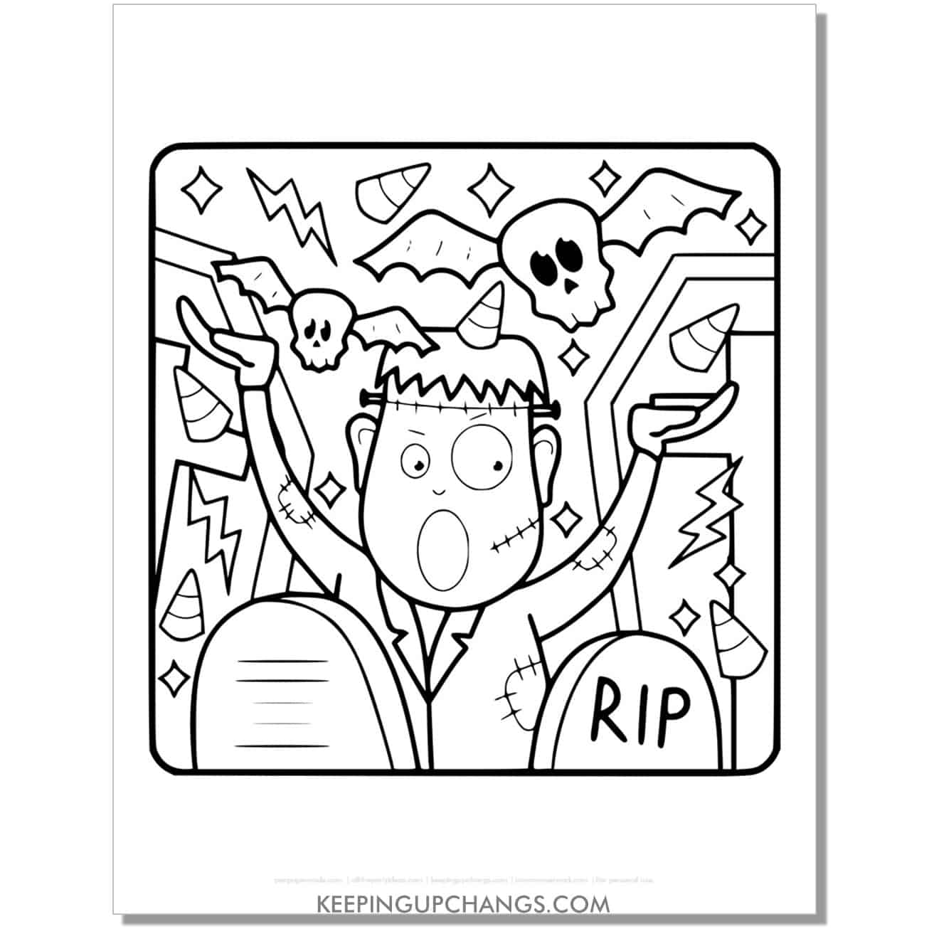 free frankenstein coloring page page for toddlers with skull bats and candy corn.