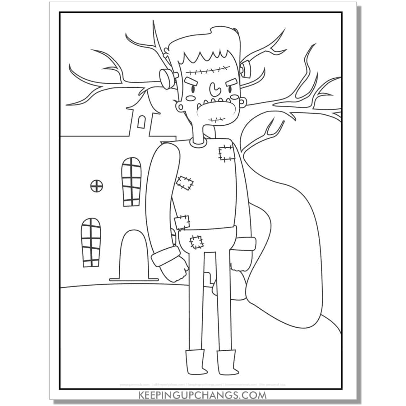 free angry frankenstein with haunted house coloring page for kids.