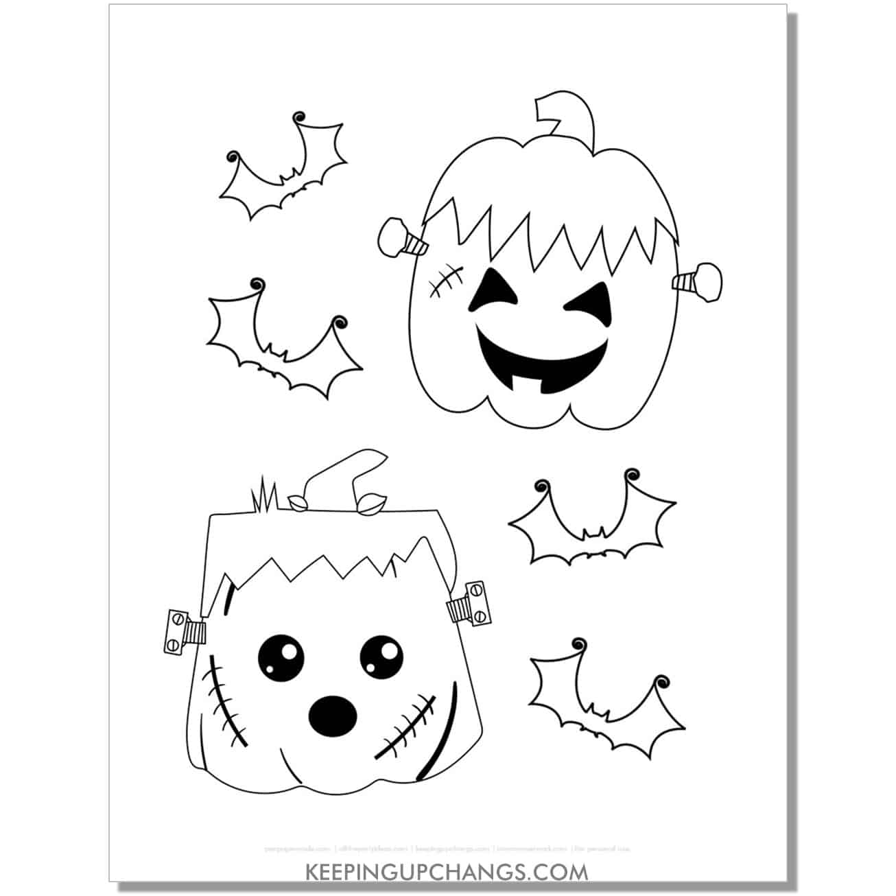 free frankenstein halloween pumpkin with bats coloring page.
