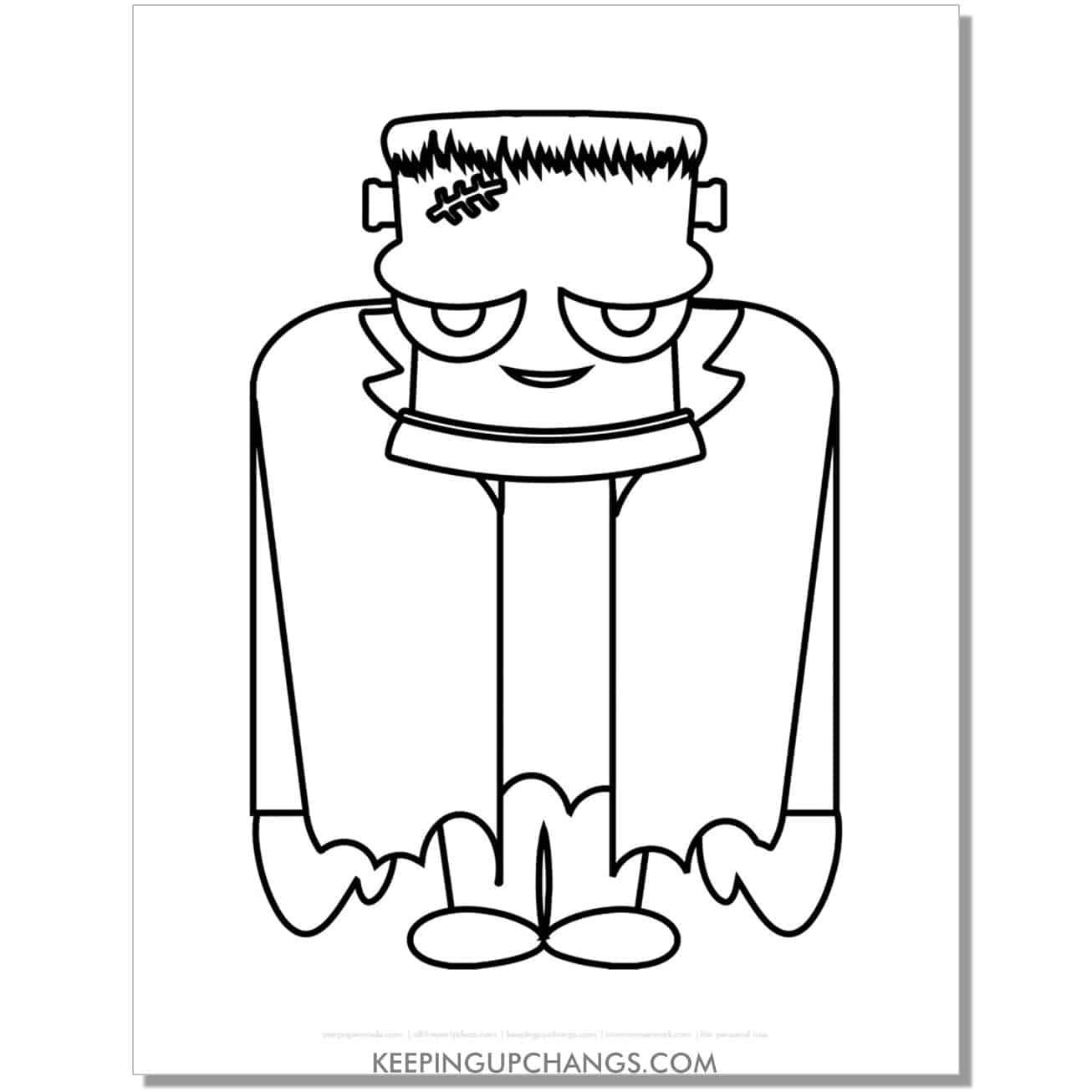 free realistic, non scary full body frankenstein coloring page.