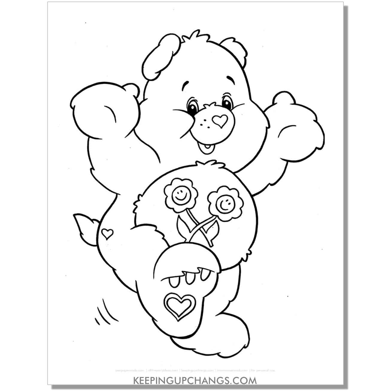 friend bear with hands up coloring page.