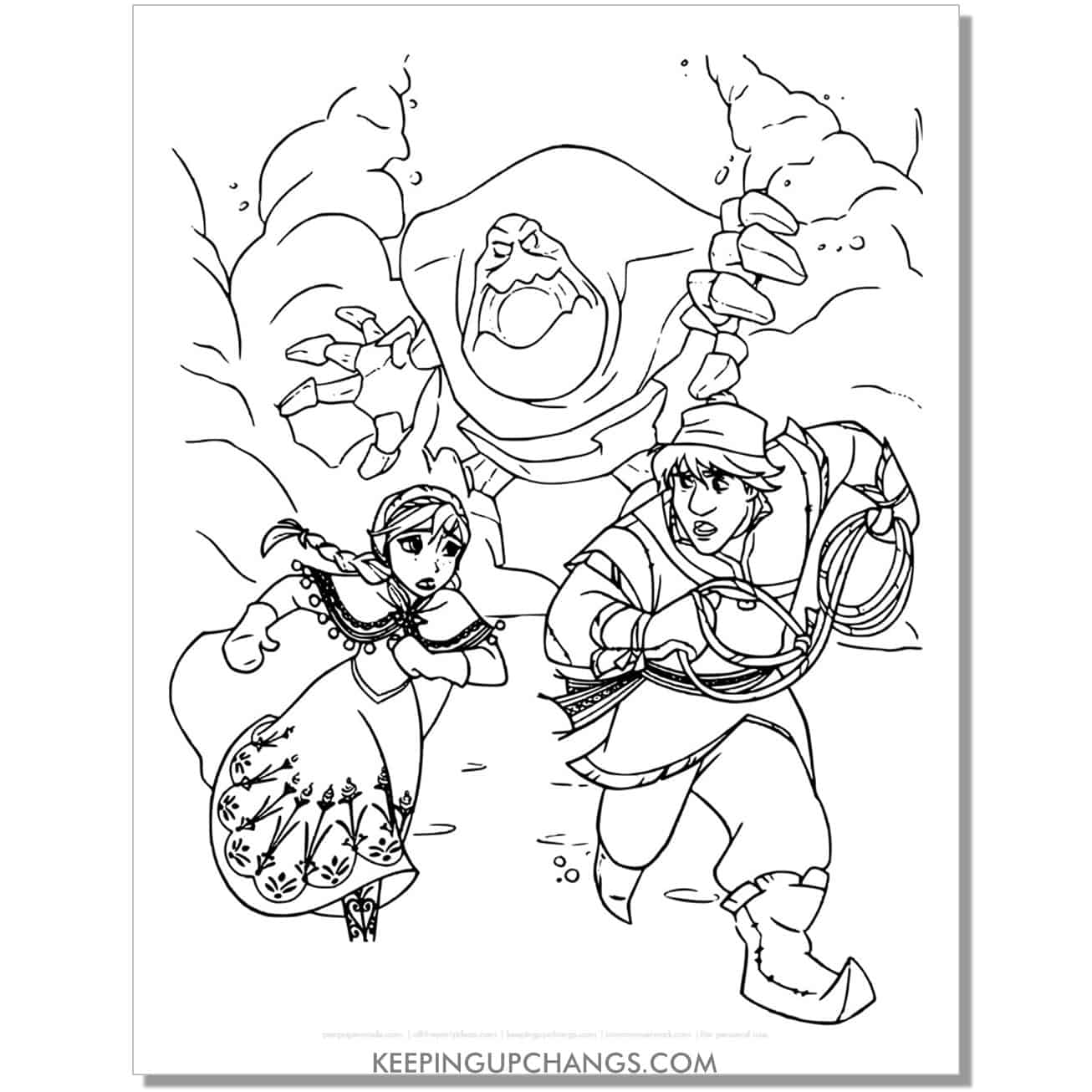 free frozen anna and kristoff running away from villain monster coloring page.