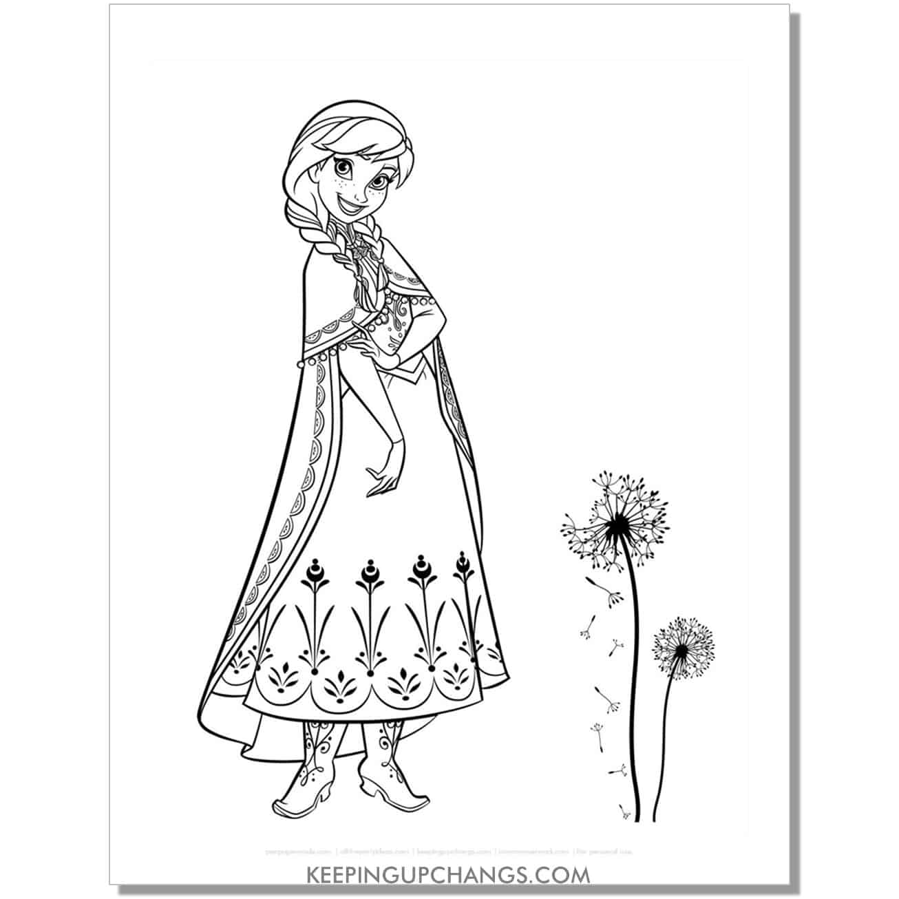 free frozen anna with dandelion coloring page.
