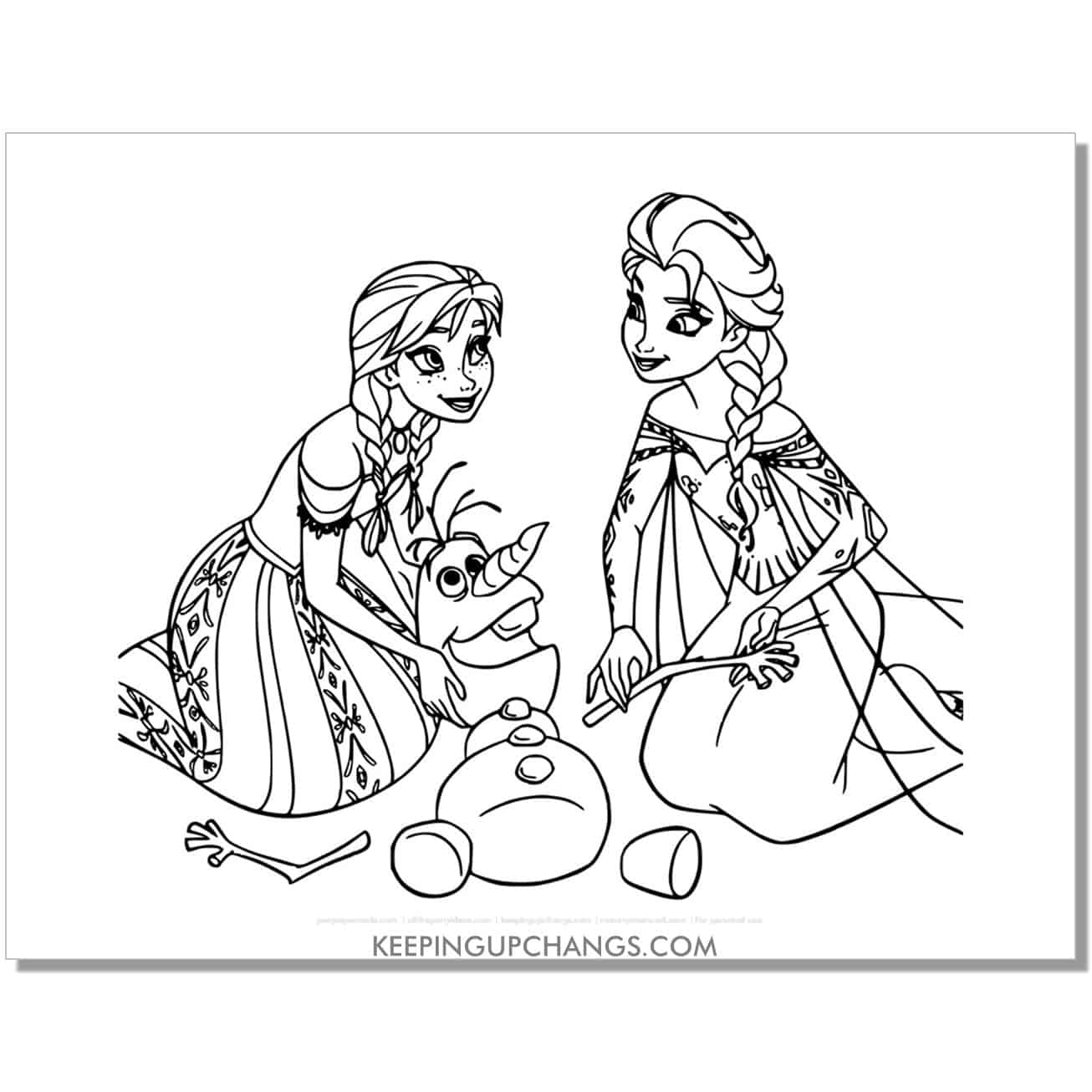 free frozen elsa and anna fixing olaf coloring page.