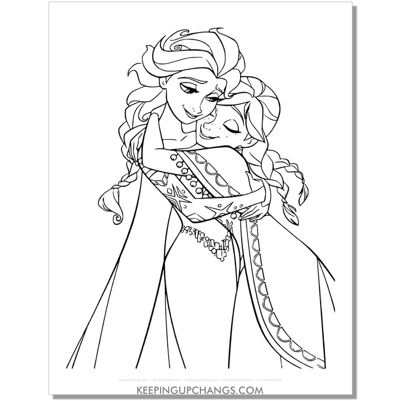 free frozen elsa and anna hugging full body coloring page.
