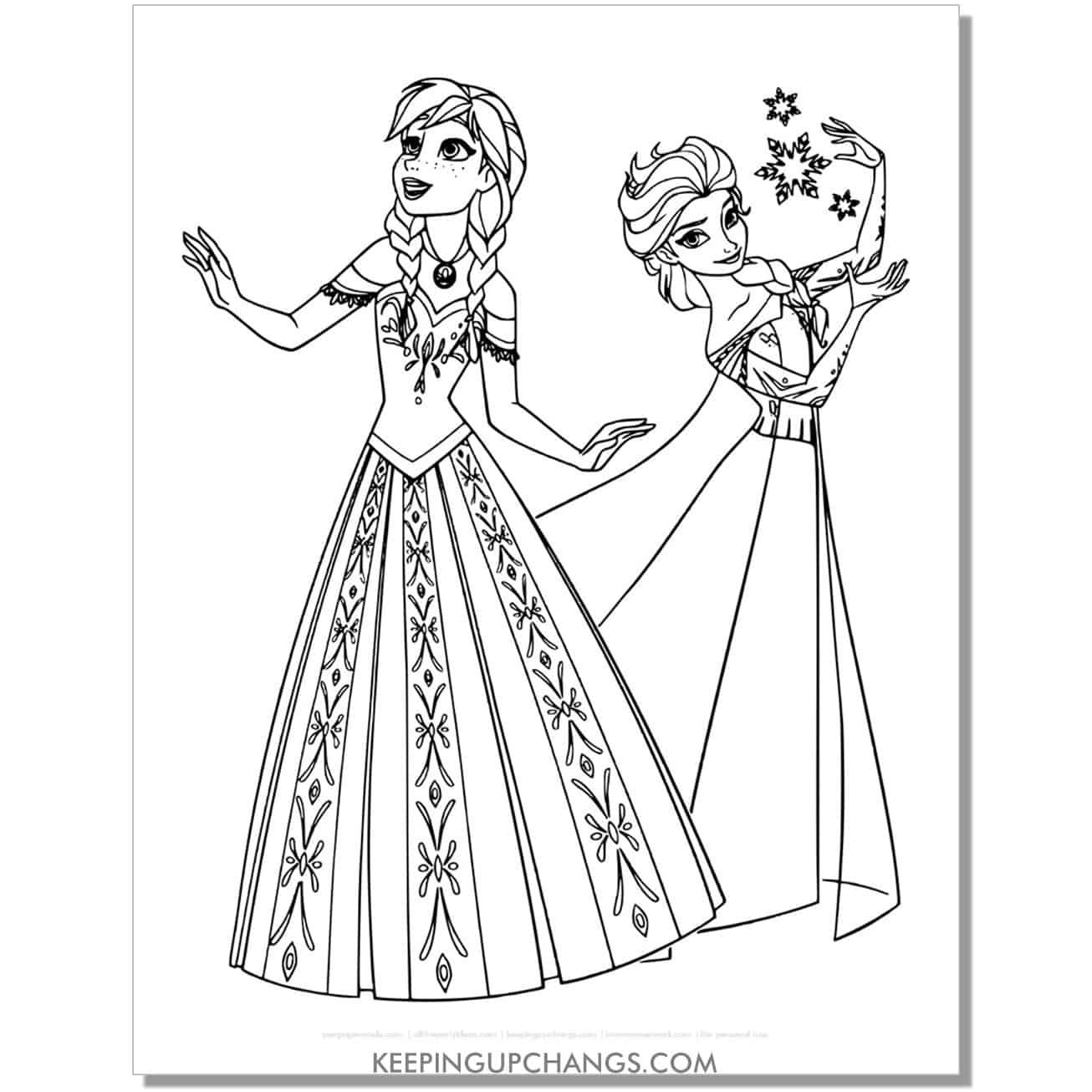 free frozen elsa and anna disney princess coloring page.