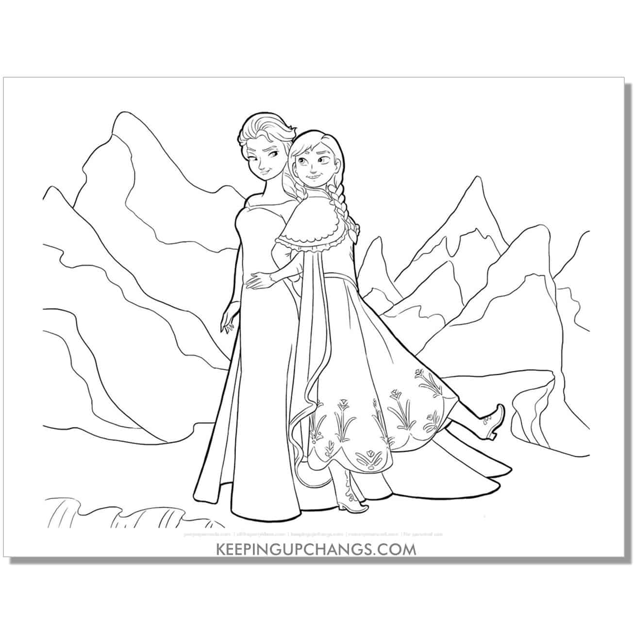 free frozen elsa and anna back to back coloring page.