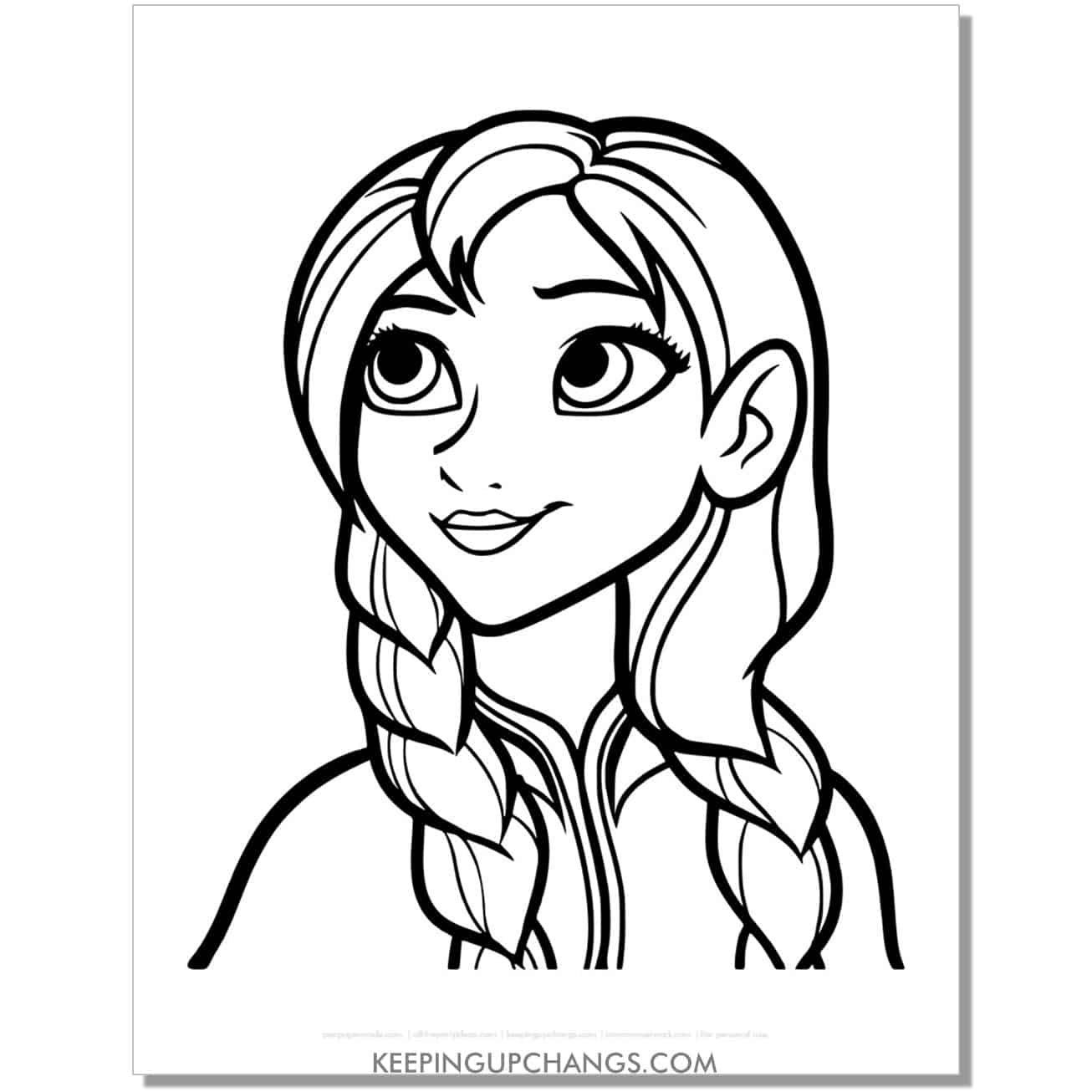 free frozen anna face coloring page.