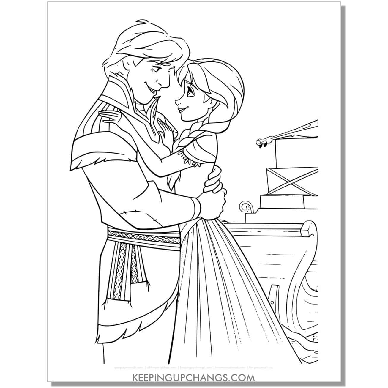 free frozen anna adn kristoff in love coloring page.