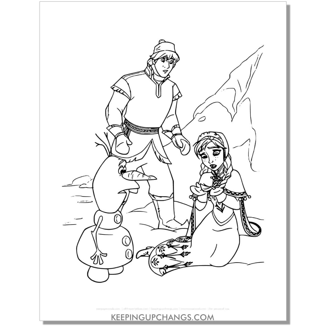 free frozen anna, kristoff, olaf find elsa coloring page.