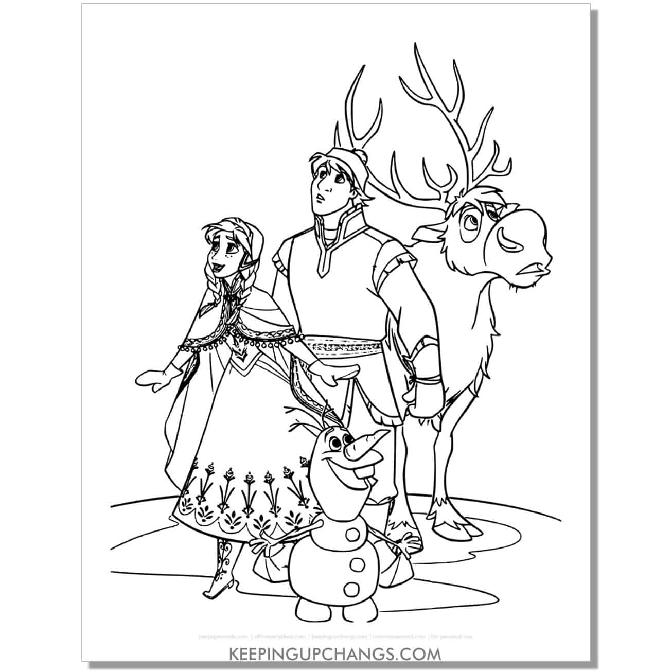 free frozen anna, kristoff, sven, olaf coloring page.
