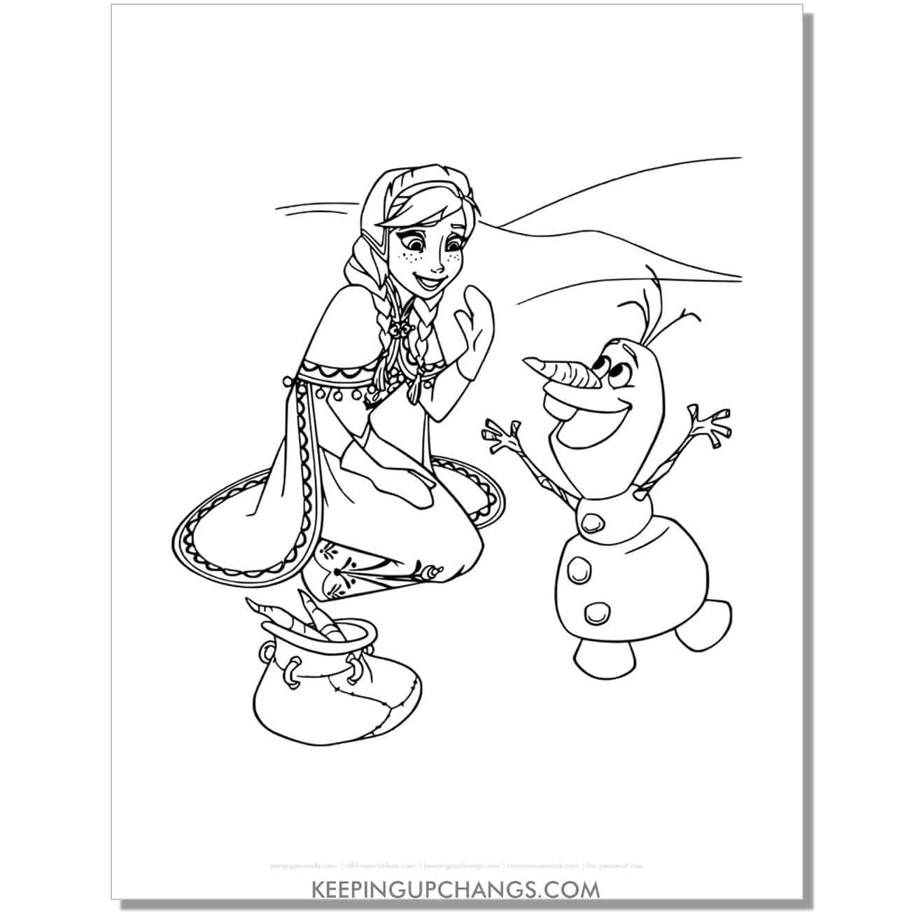 free frozen anna and olaf coloring page.