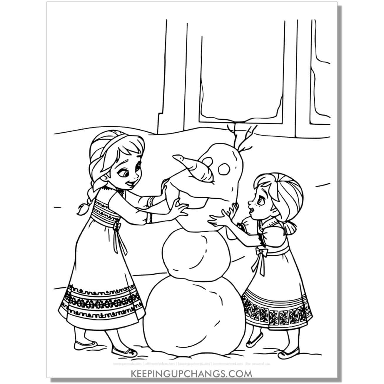 free frozen cute elsa anna baby kid coloring page.