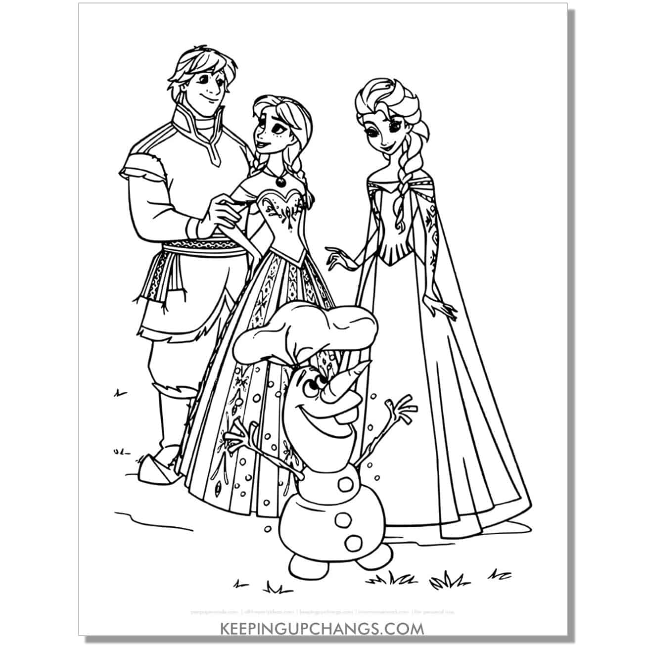 free frozen elsa, anna, kristoff, olaf coloring page.
