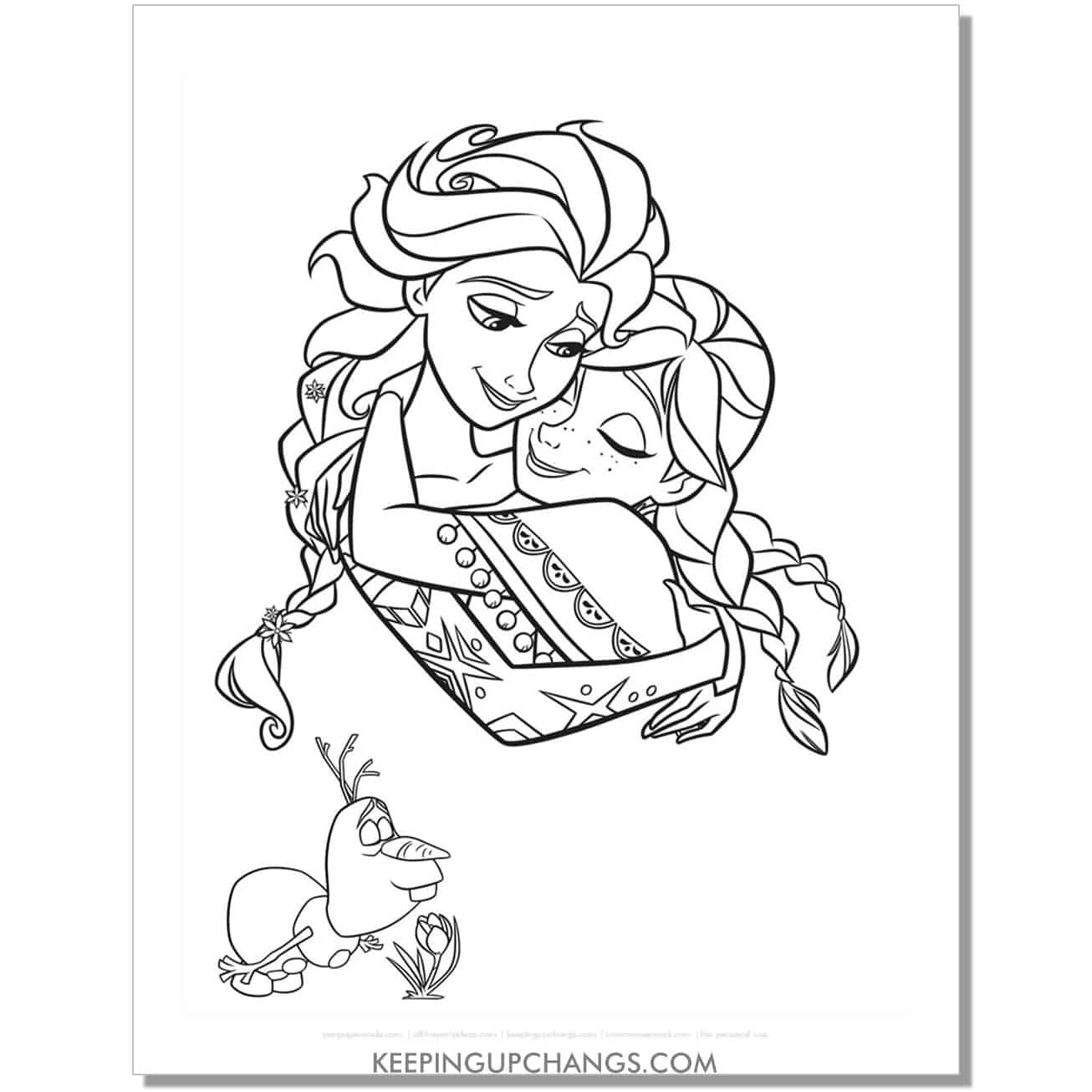 free frozen elsa and anna hugging coloring page.