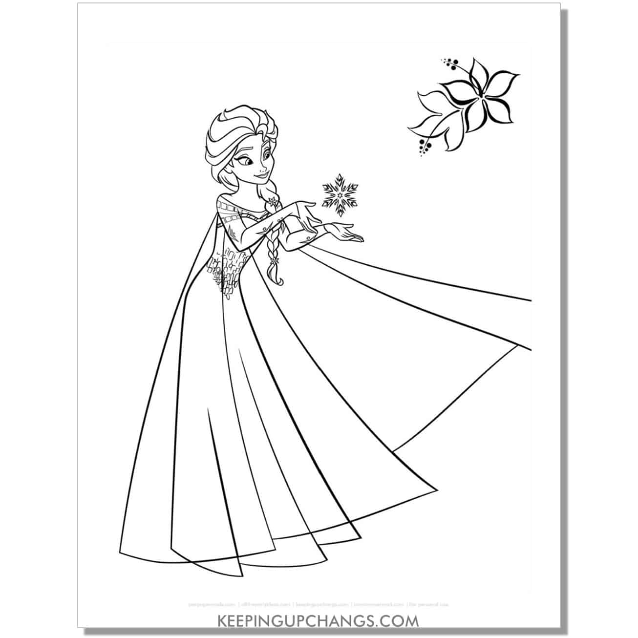 free elsa learning to use magic frozen coloring page.