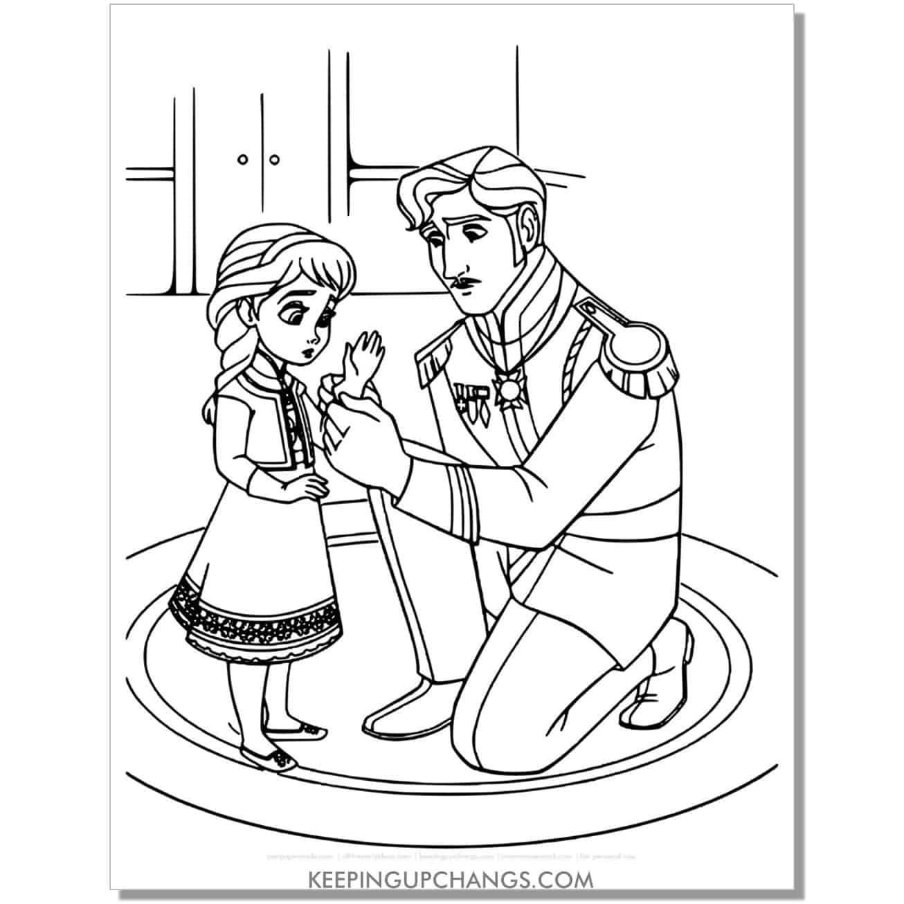 free little elsa and father frozen coloring page.