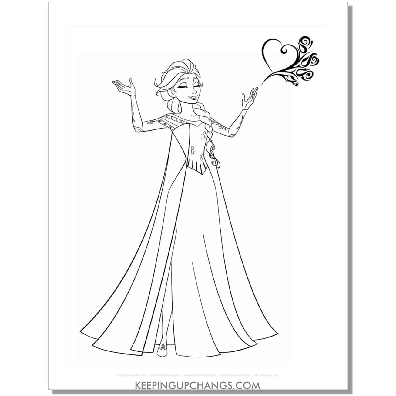 free elsa happy with heart frozen coloring page.