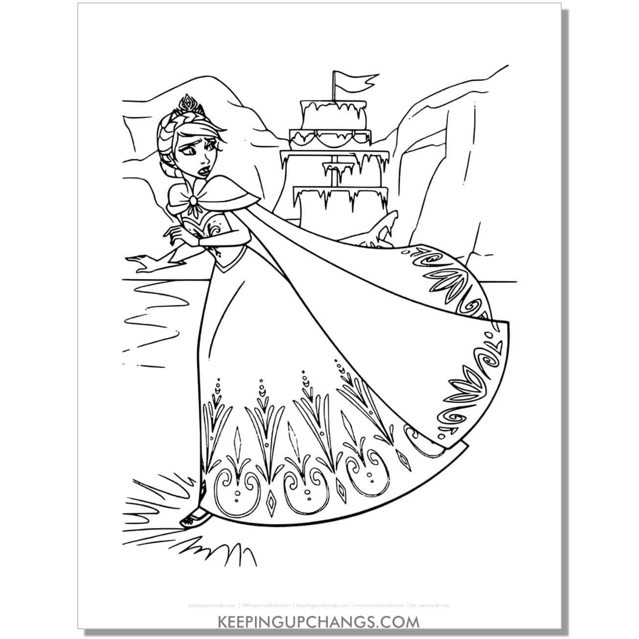 free elsa running away to be alone frozen coloring page.