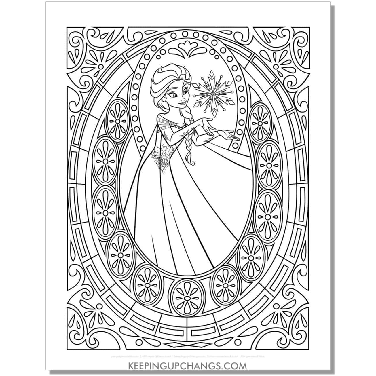 free elsa stained glass detailed, intricate frozen coloring page.