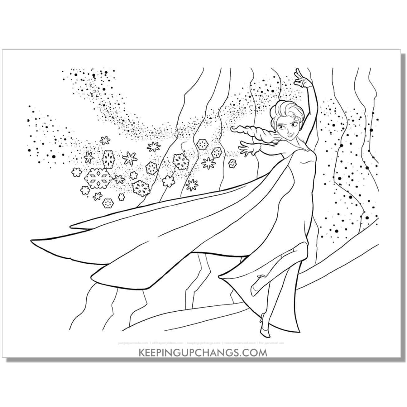free elsa working ice magic frozen coloring page.