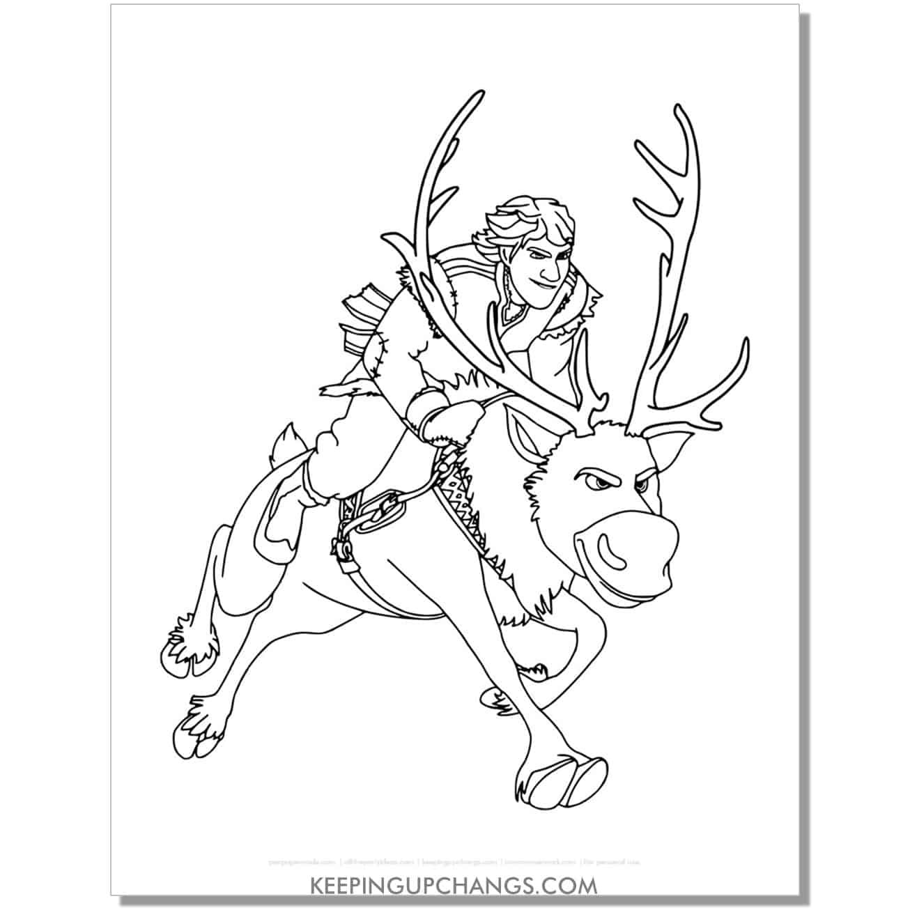 free sven and kristoff frozen coloring page.