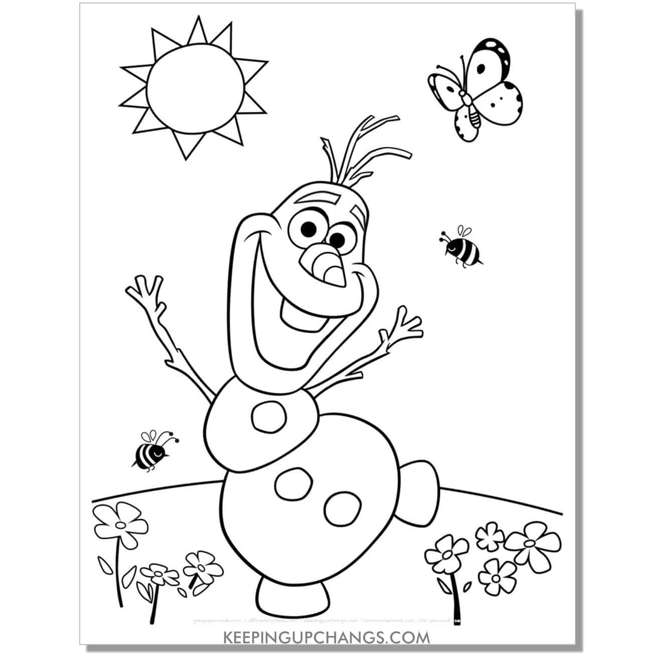 free olaf melting in spring sun frozen coloring page.