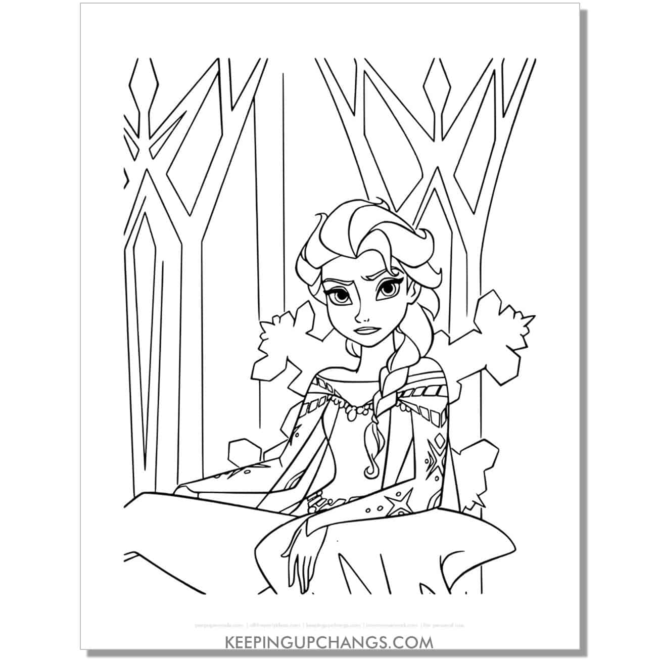free elsa not happy frozen coloring page.