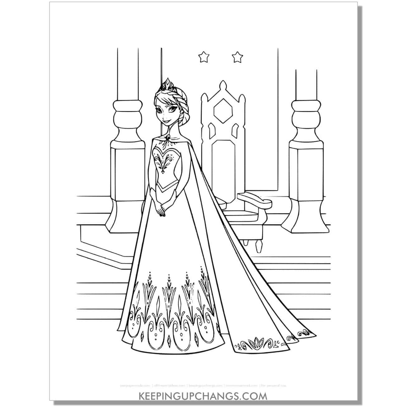 free elsa ice queen frozen coloring page.