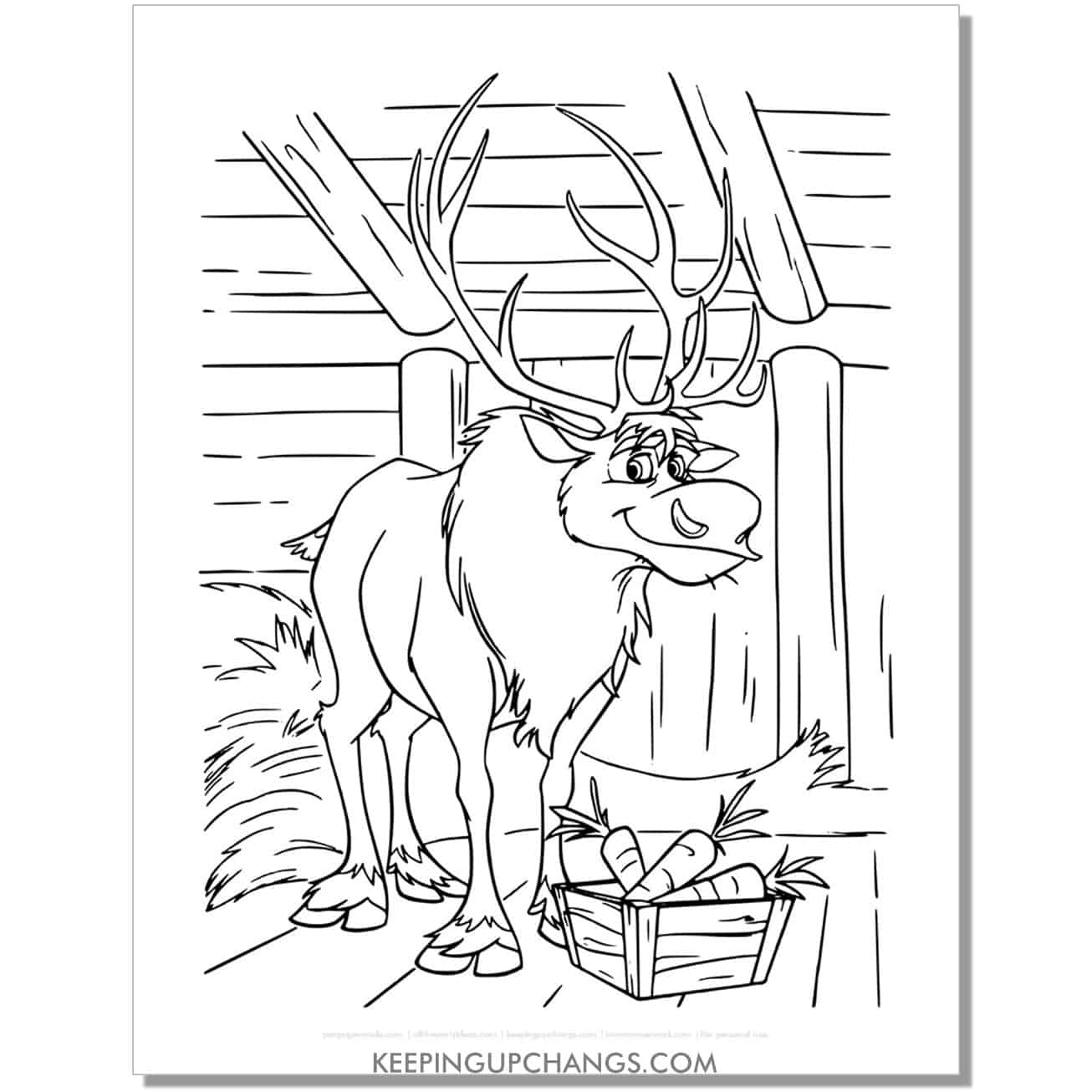free sven moose in cottage frozen coloring page.