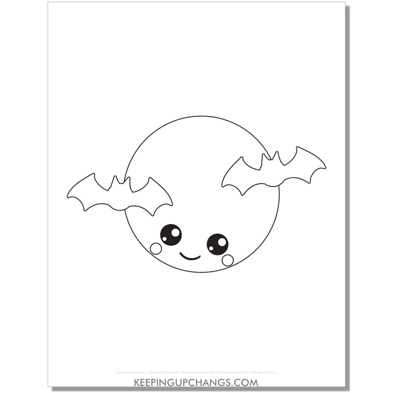 free kawaii full moon with bats halloween coloring page for toddlers.