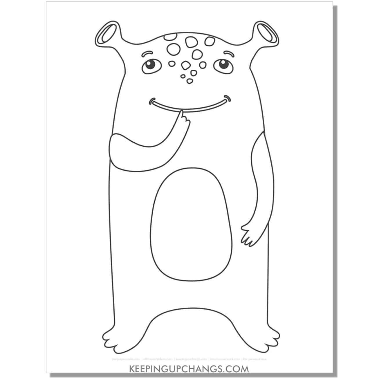 free friendly alien monster coloring page.
