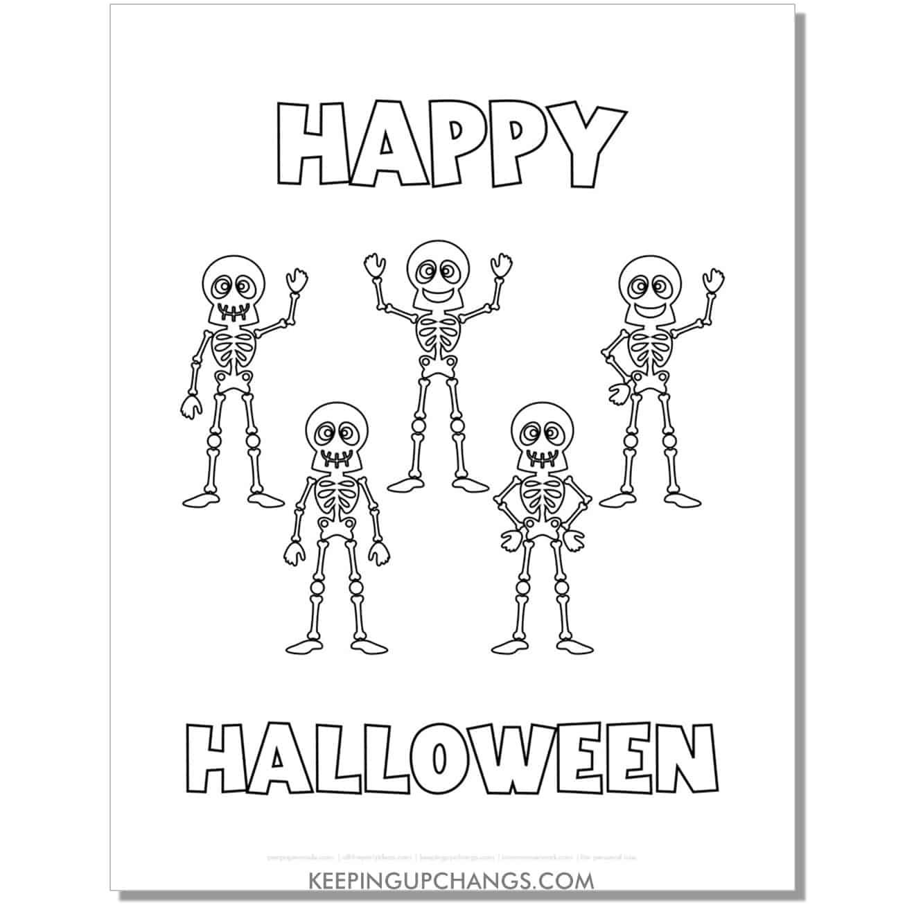 free dancing, friendly skeleton happy halloween coloring page.