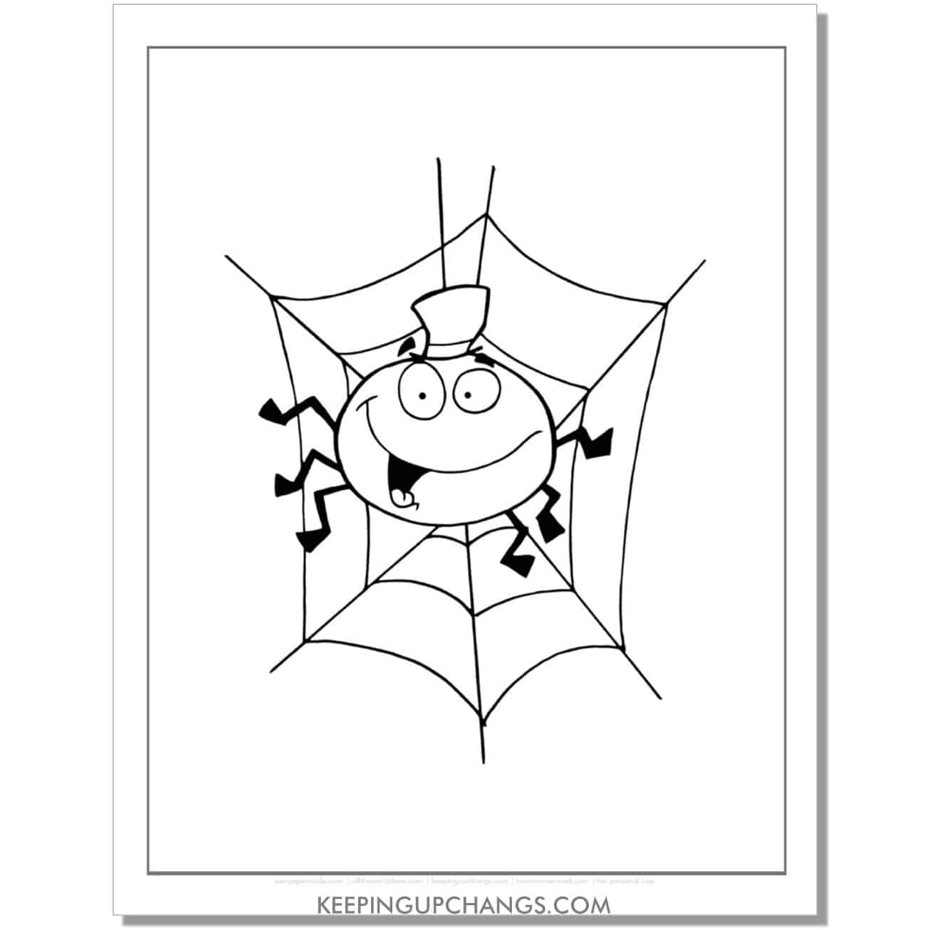 free silly spider with top hat halloween coloring page.